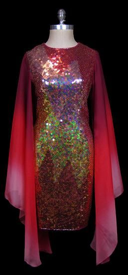Sequined rainbow chiffon dress, by    Halston, 1970s. The Frock.
