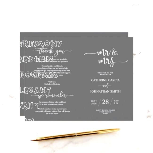 Ceremony Program Elegant Script Grey  Wedding Ceremony Program Elegant Script Grey  Wedding Ceremony Program Elegant Script Grey  Wedding Ceremony Program Elegant Script...
