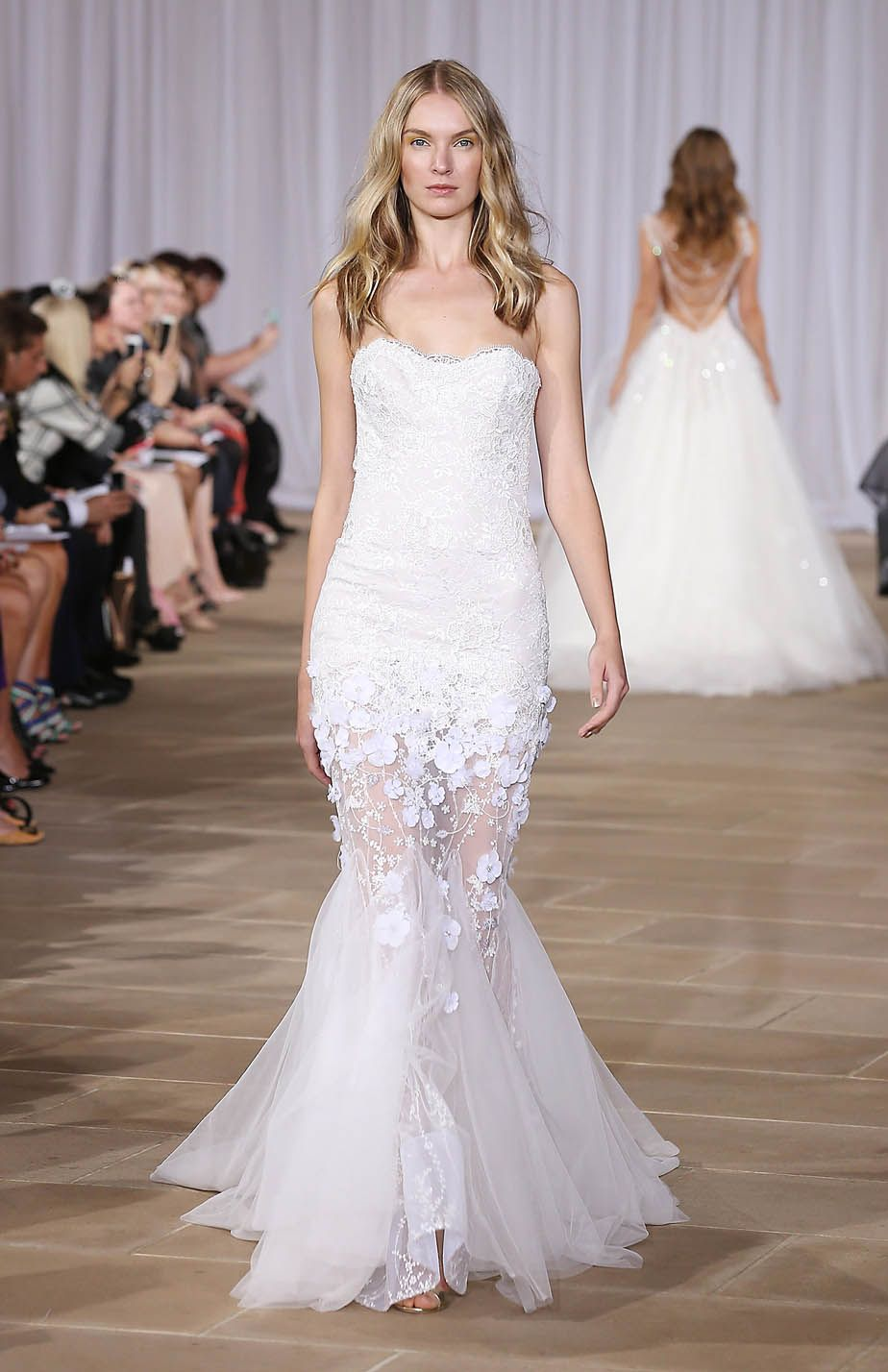 Aurora | Ines Di Santo: Strapless lace sheath with transparent beaded skirt and tulle godets