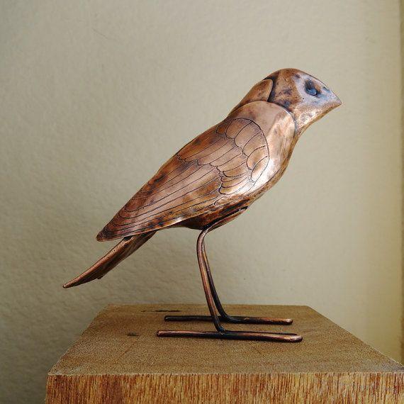 Copper Bird Sculpture Finch OOAK Hammered Engraved by sparkflight
