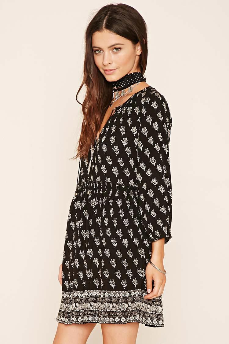 Floral Self-Tie Peasant Dress | Forever 21 - 2000201082