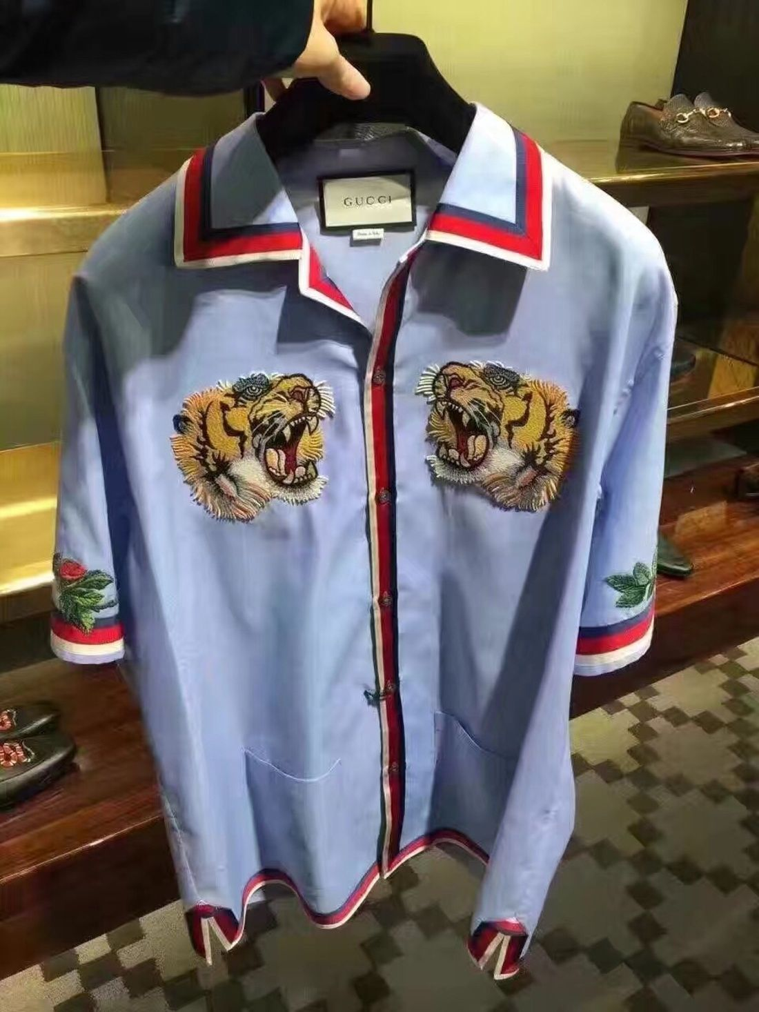 e8ae7051ce6 Gucci Gucci Oxford Bowling Shirt With Tiger Embroidery