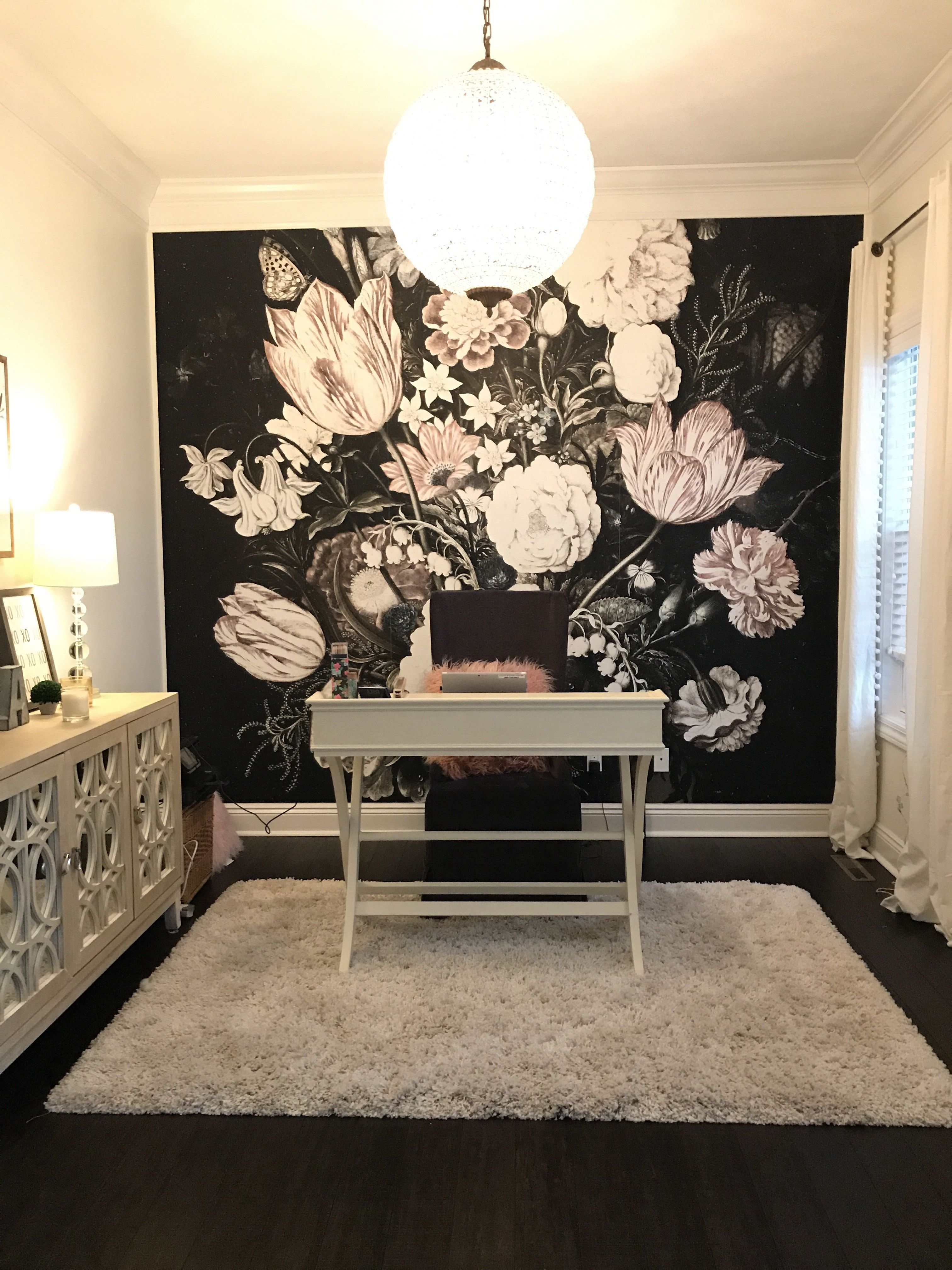 Interesting Vintage Home Office Decoration Removable Wall Mural Makes The Interior Very Stylish Removab Vintage Home Offices Home Office Decor Floral Bedroom