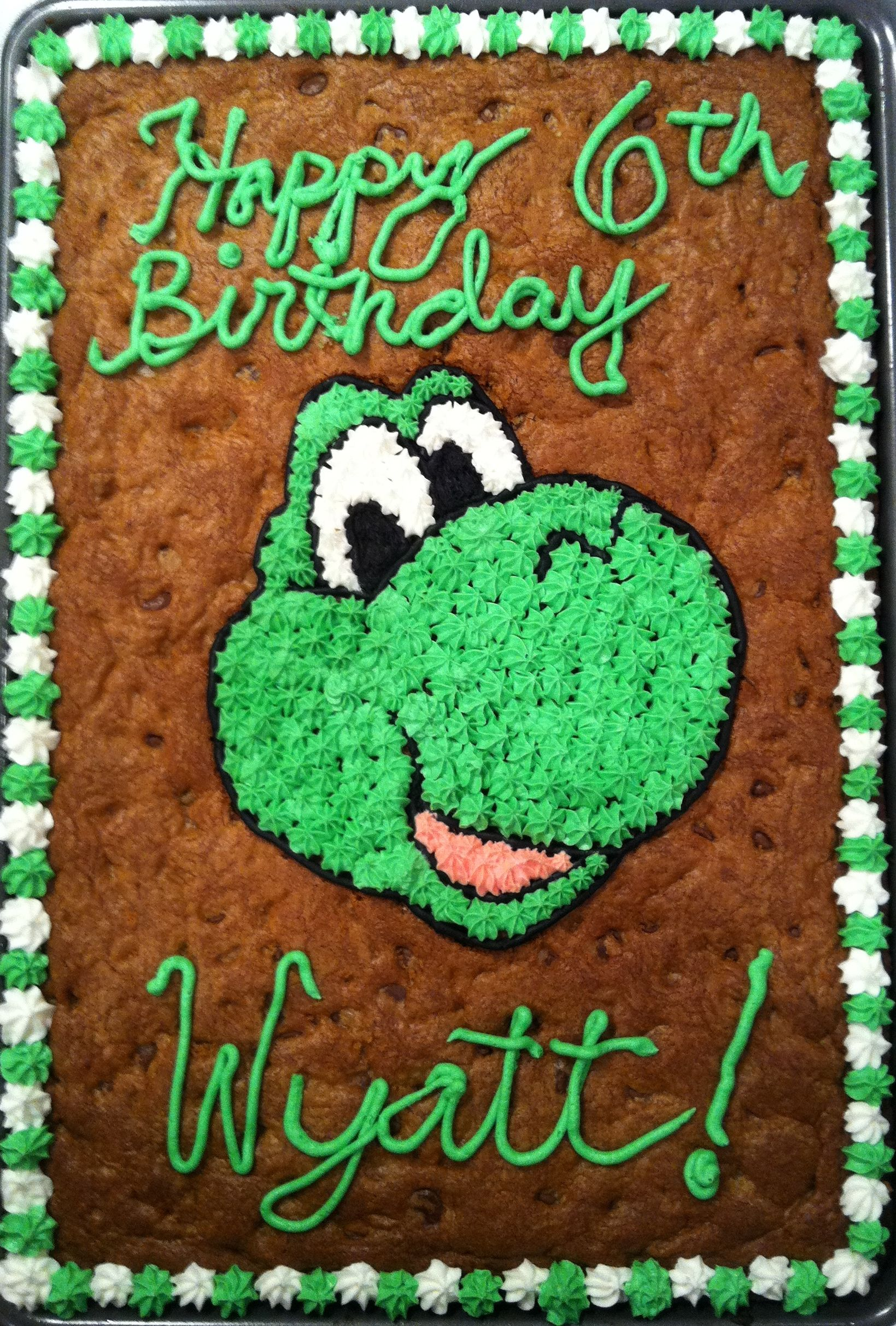 Yoshi Birthday Cookie Cake Cookie Cakes Pinterest Birthday