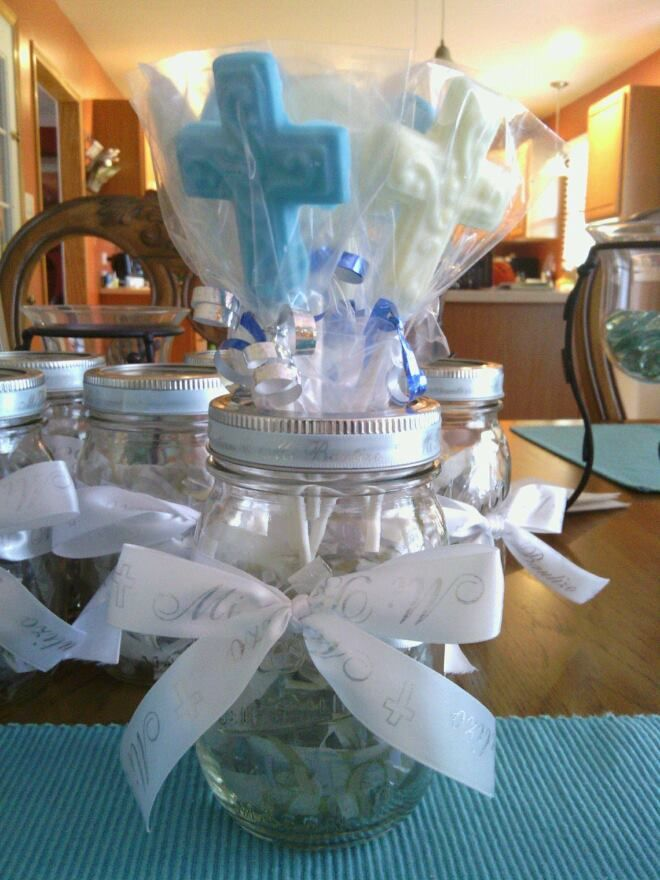 Baptism centerpieces bought everything from joann fabrics for Baby baptism decoration ideas