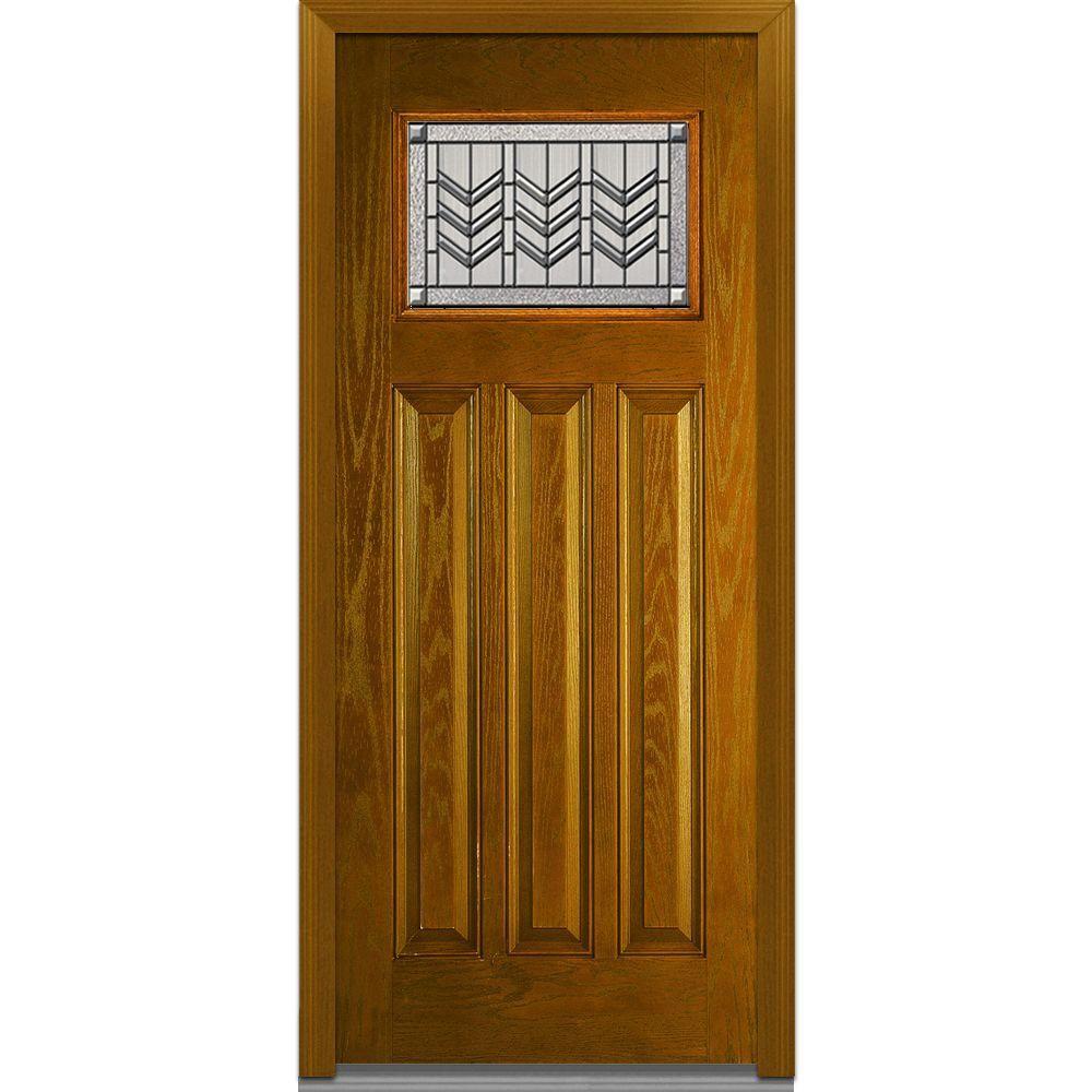 Milliken Millwork 36 In X 80 In Prairie Bevel Left Hand Craftsman 1 X2f 4 Lite 3 Panel Classic Stained Oak Exterior Doors Fiberglass Entry Doors Glass Decor