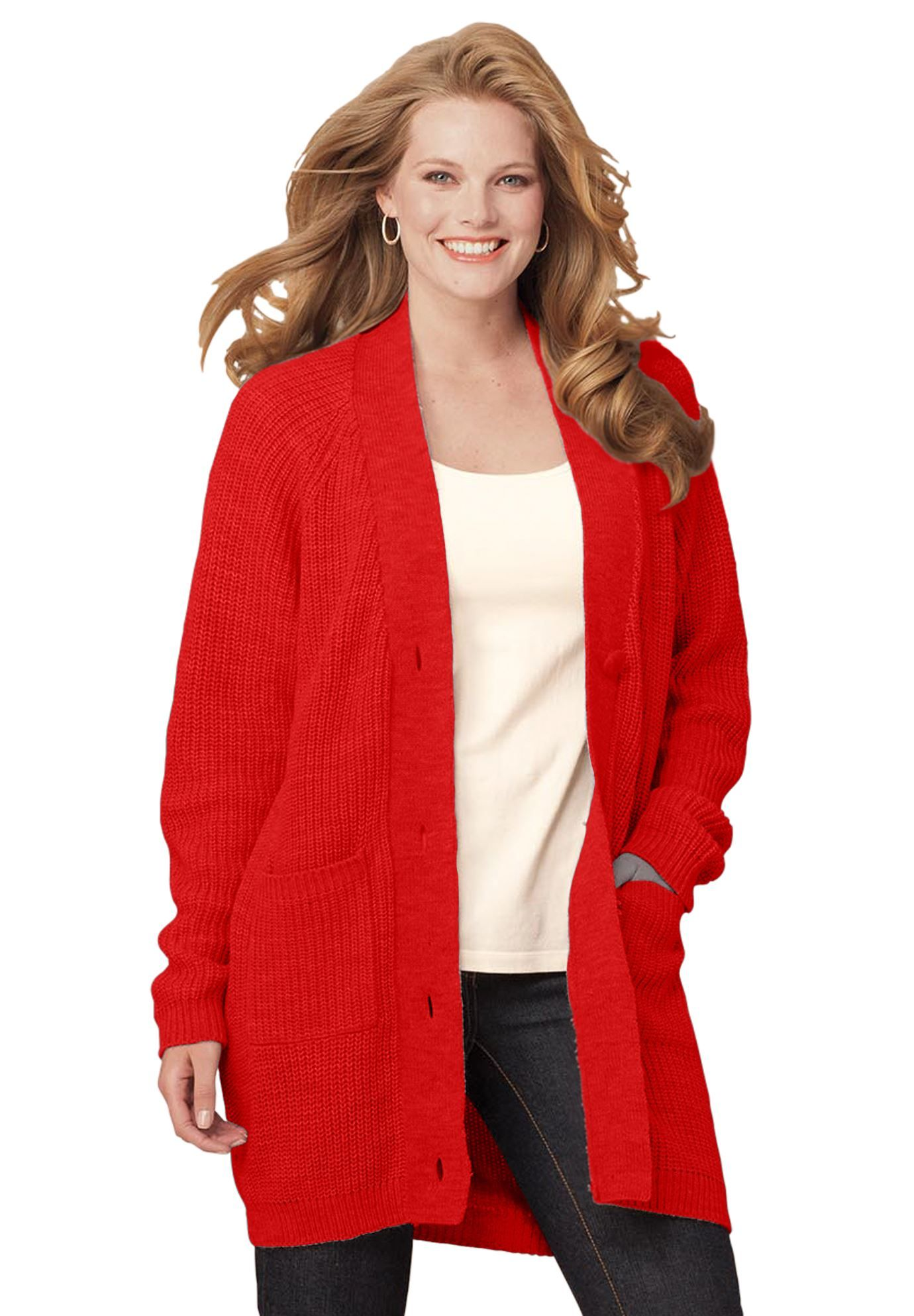 c07dd7228a8 plus size cardigan sweaters for women red