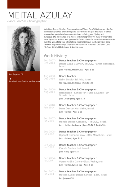 dance teacher & choreographer Resume Example | Lifelong Learning ...
