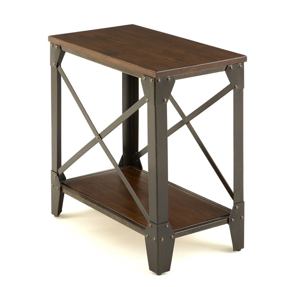 Windham solid wood iron side table overstock shopping for Iron and wood side table
