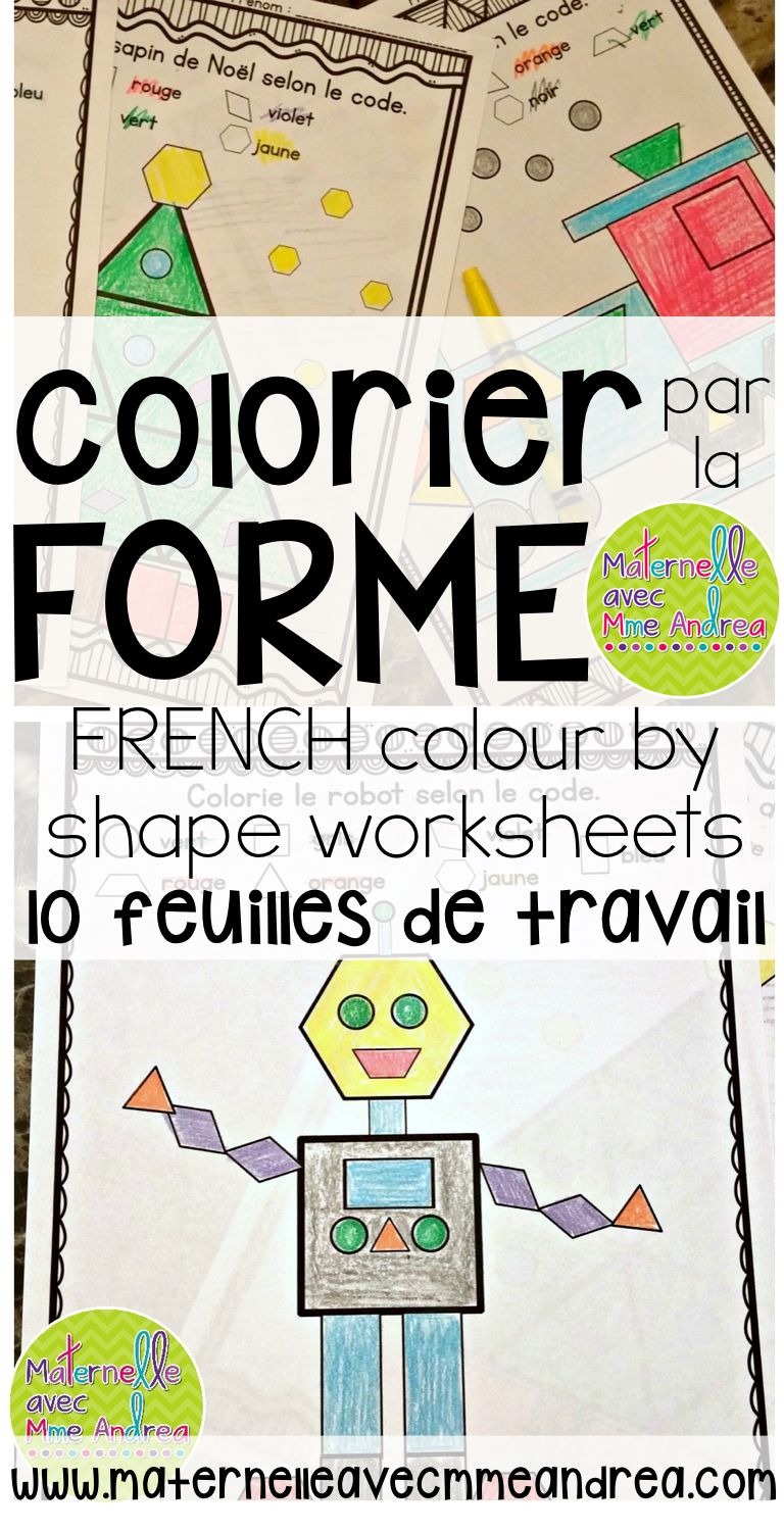 French Shapes - Colour by Shapes MATH Worksheets (Les ...