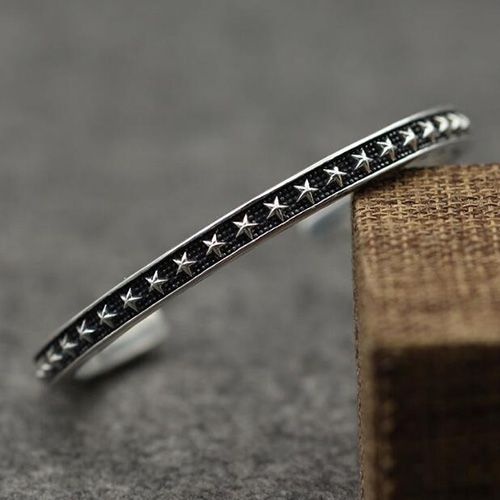 Men S Sterling Silver Stars Cuff Bracelet