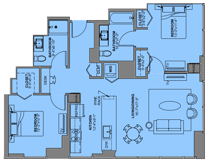 Floor Plan for a Two Bedroom Apartment Experience73 in