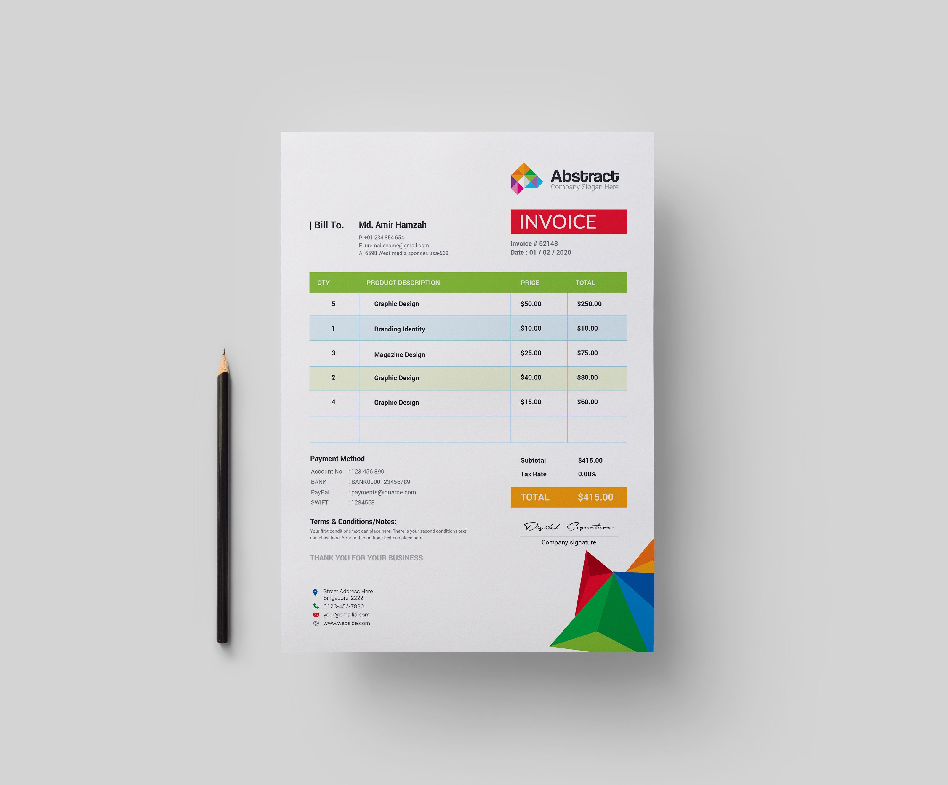 Colorful Professional Corporate Invoice Template Graphic Templates Invoice Template Invoice Design Template Invoice Design