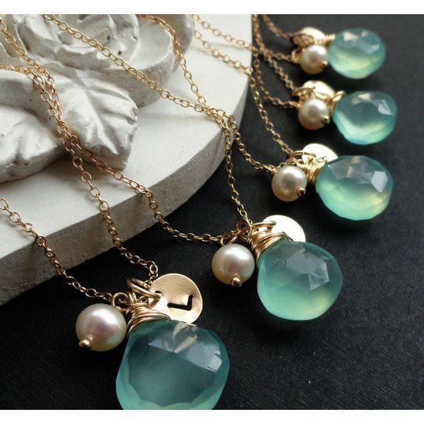 Bridesmaid Gifts Set of Five Personalized Gold Necklaces Aqua Teal... ($139) ❤ liked on Polyvore featuring jewelry, necklaces, dark olive, weddings, gold charm necklace, gold filled charms, 14k yellow gold necklace, gold filled necklace y gold initial charms