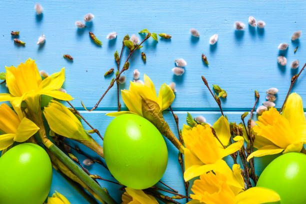 background with easter eggs and traditional symbols of spring