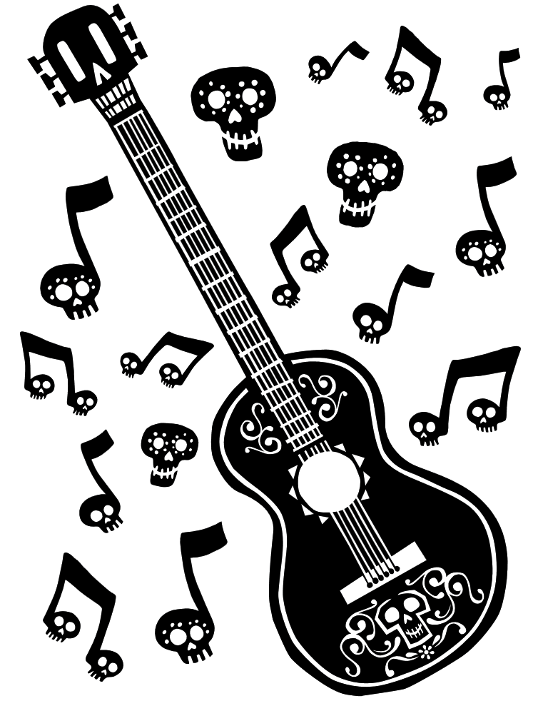 Coco Guitar Coloring Page Coco, Disney silhouette, Guitar