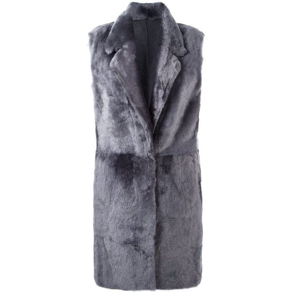 Drome wide collar sleeveless coat (2,735 CAD) ❤ liked on Polyvore featuring outerwear, coats, grey, gray coat, sleeveless coat, leather coats, wide collar coat and gray leather coat