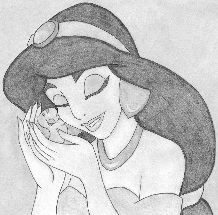 Pencil drawing aladdin and jasmine