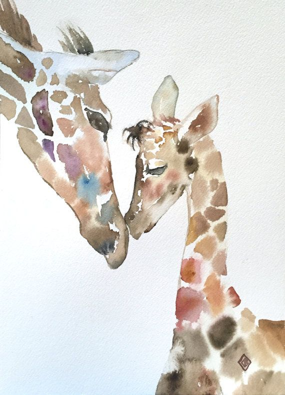 Giraffes 9x12 Original Watercolor Painting Animals Mother And
