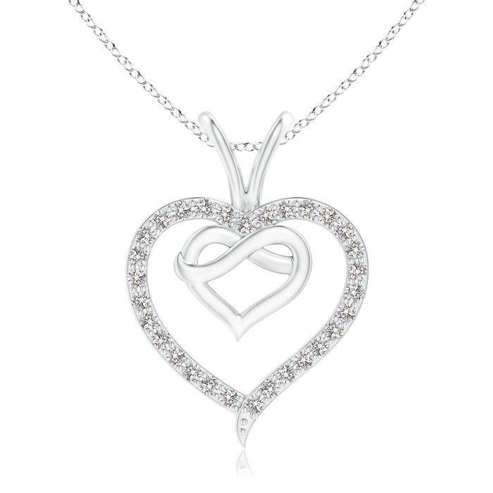 Angara Prong-Set Diamond Twin Heart Pendant 8hWycmZy3