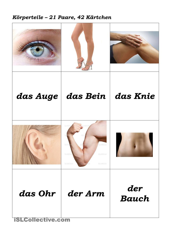 Körperteile - Memory | Deutsch | Pinterest | Kindergarten