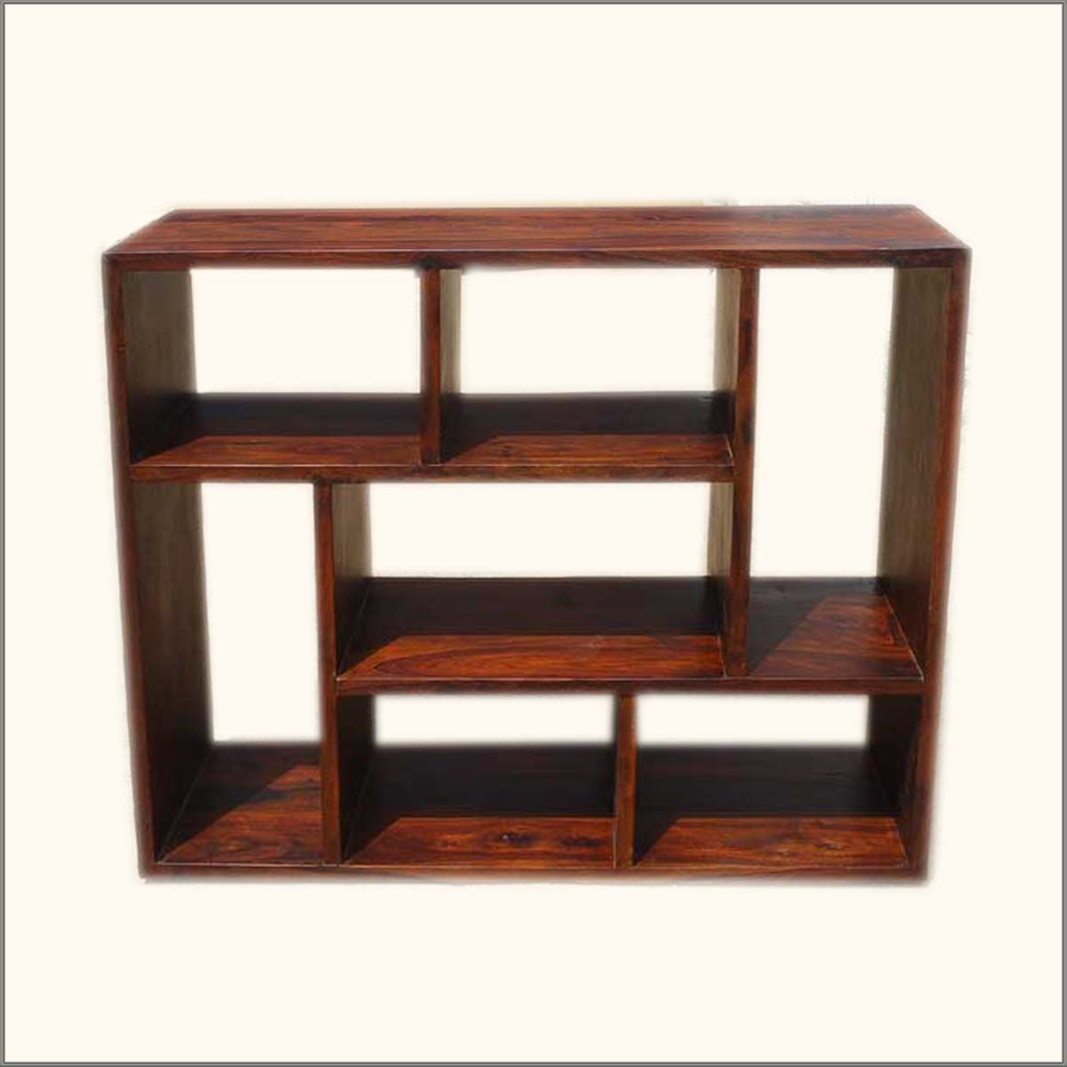 Asymmetrical Cube Bookcase Contemporary Wooden Display Cabinet