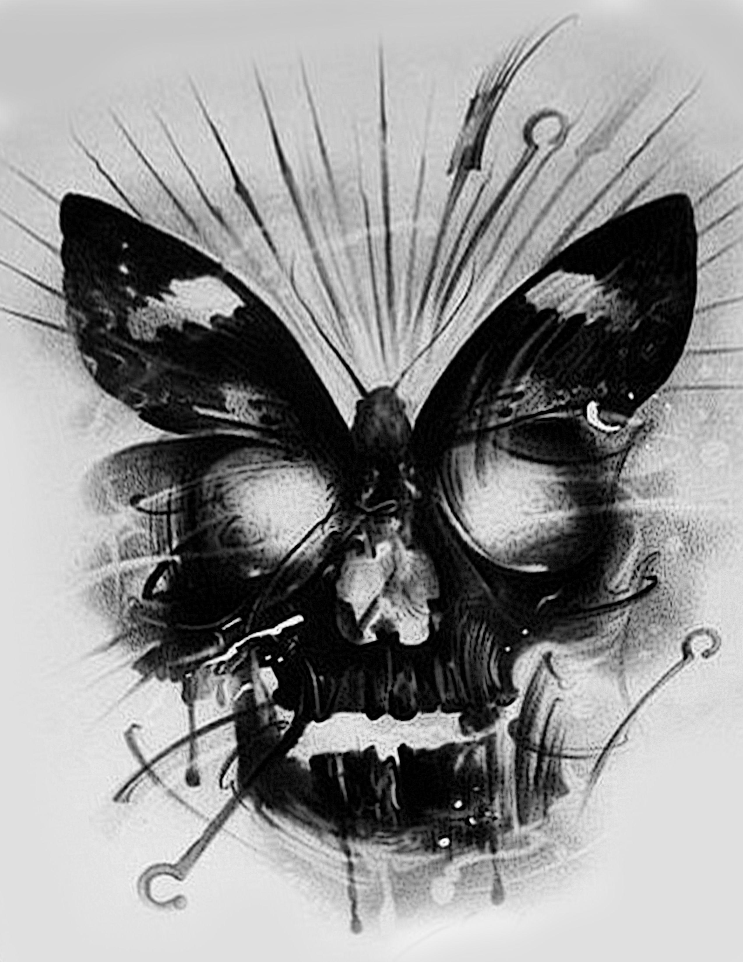 Skull butterfly design
