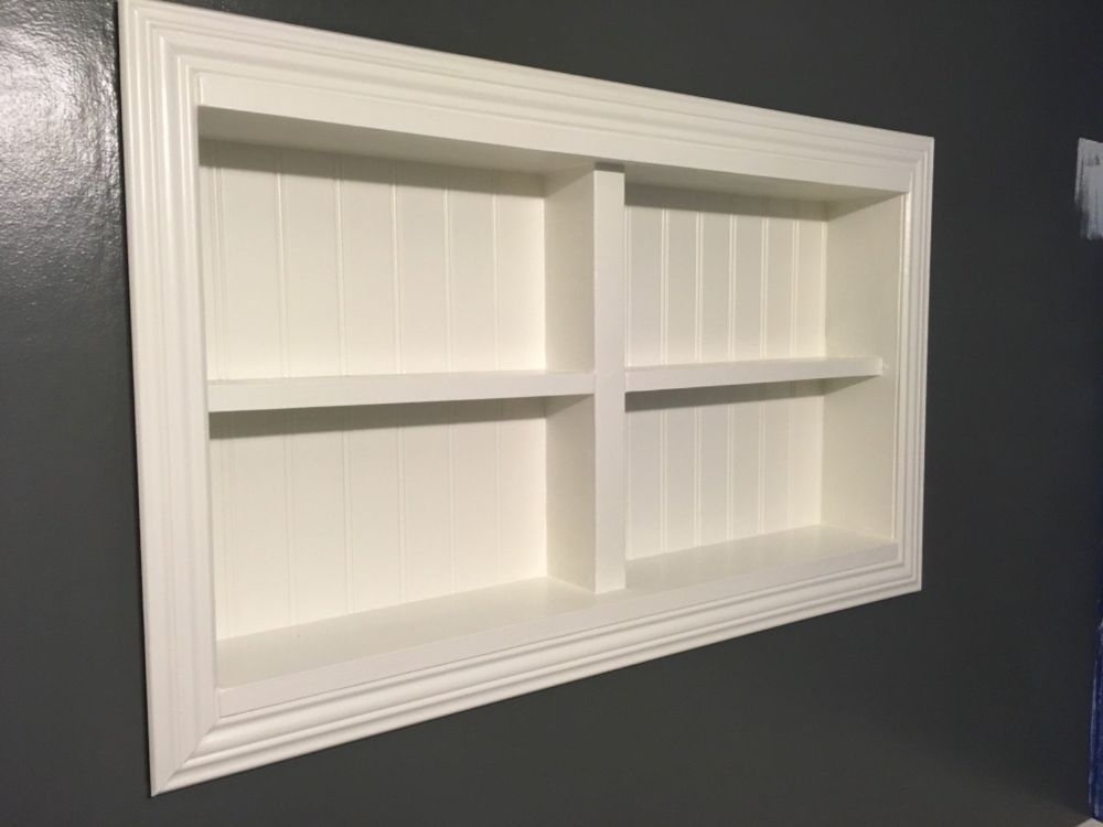 In-the-wall Shelves for a Tiny Half Bath | Home Projects | Pinterest