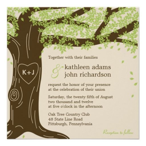Oak tree wedding invitation wedding pinterest weddings and wedding oak tree wedding invitation stopboris Choice Image