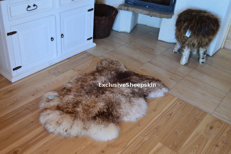 Genuine White Brown Sheepskin Rug 100 Natural Color Soft Long Etsy In 2020 Sheepskin Rug Rugs Soft Rug