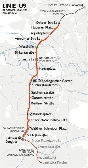 Karte Der Gesamten U Bahn Linie G Heute 9 U Bahn Geschichte