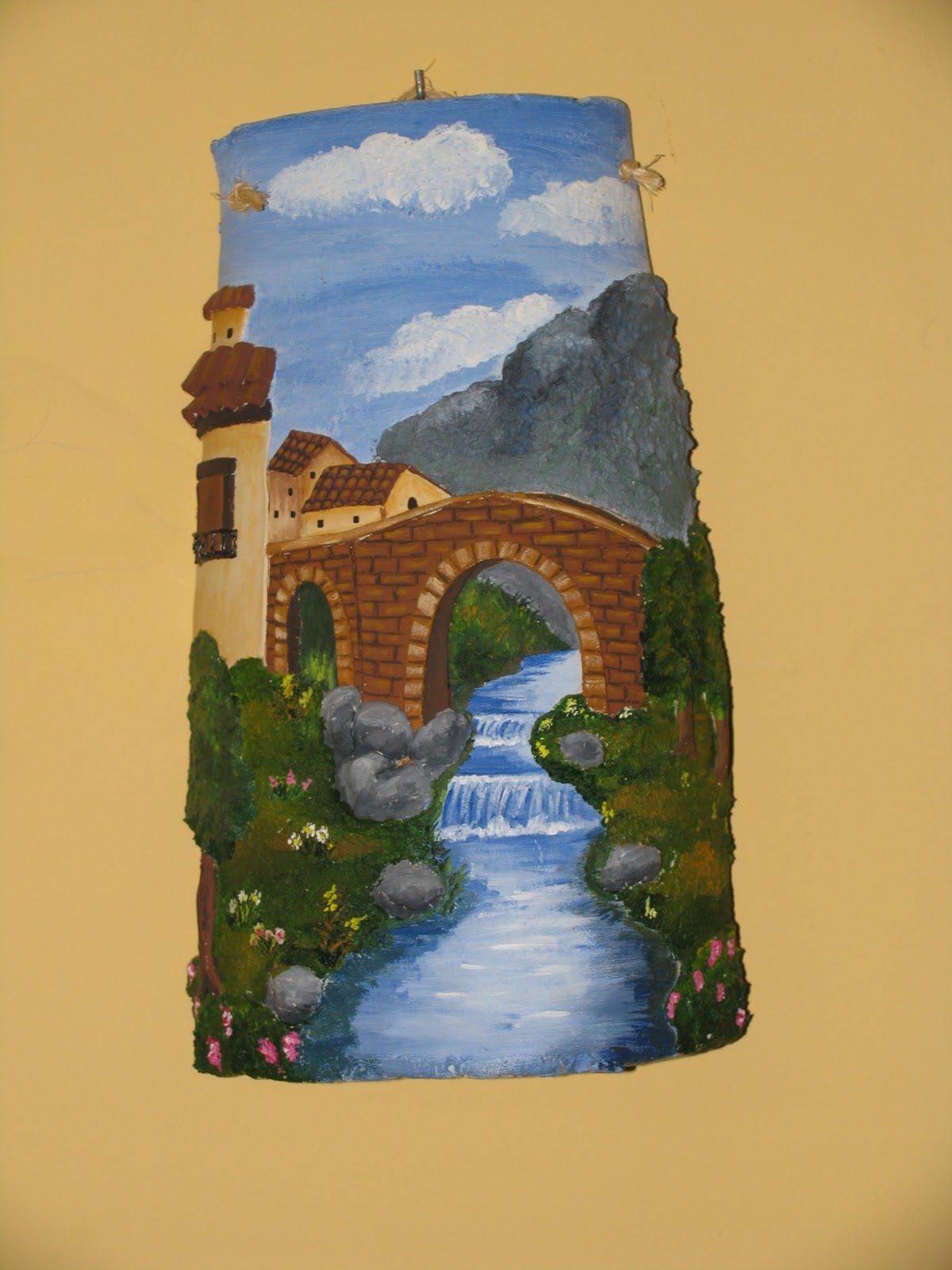 Tejas decoradas bricolaje miniaturas tejas decupage for Pintura para tejas