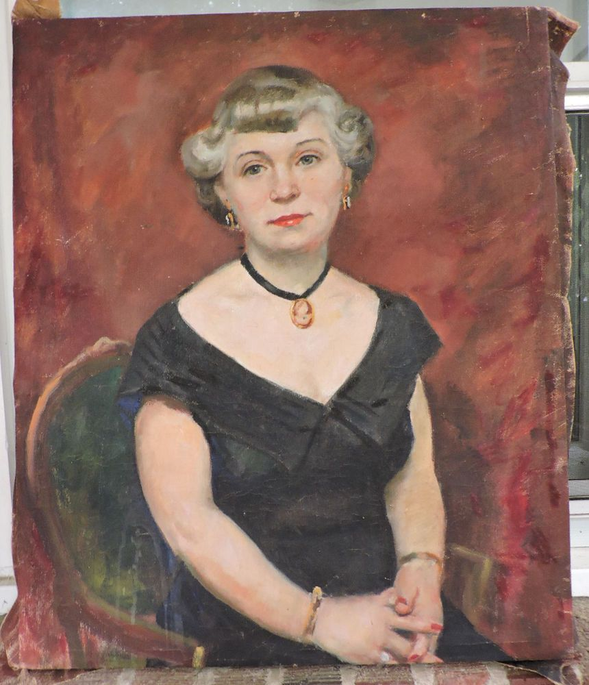 Oil Portrait Mid Century Pretty Gray Hair Woman In Black Cameos Painting C1940s Pretty Gray Hair Grey Hair Styles For Women Womens Hairstyles