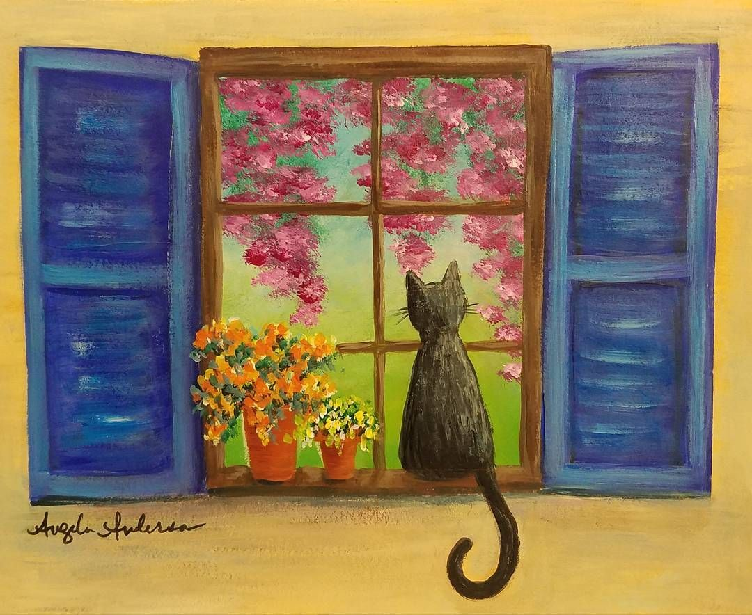 Cat In A Window With Flowers Acrylic Painting Tutorial By