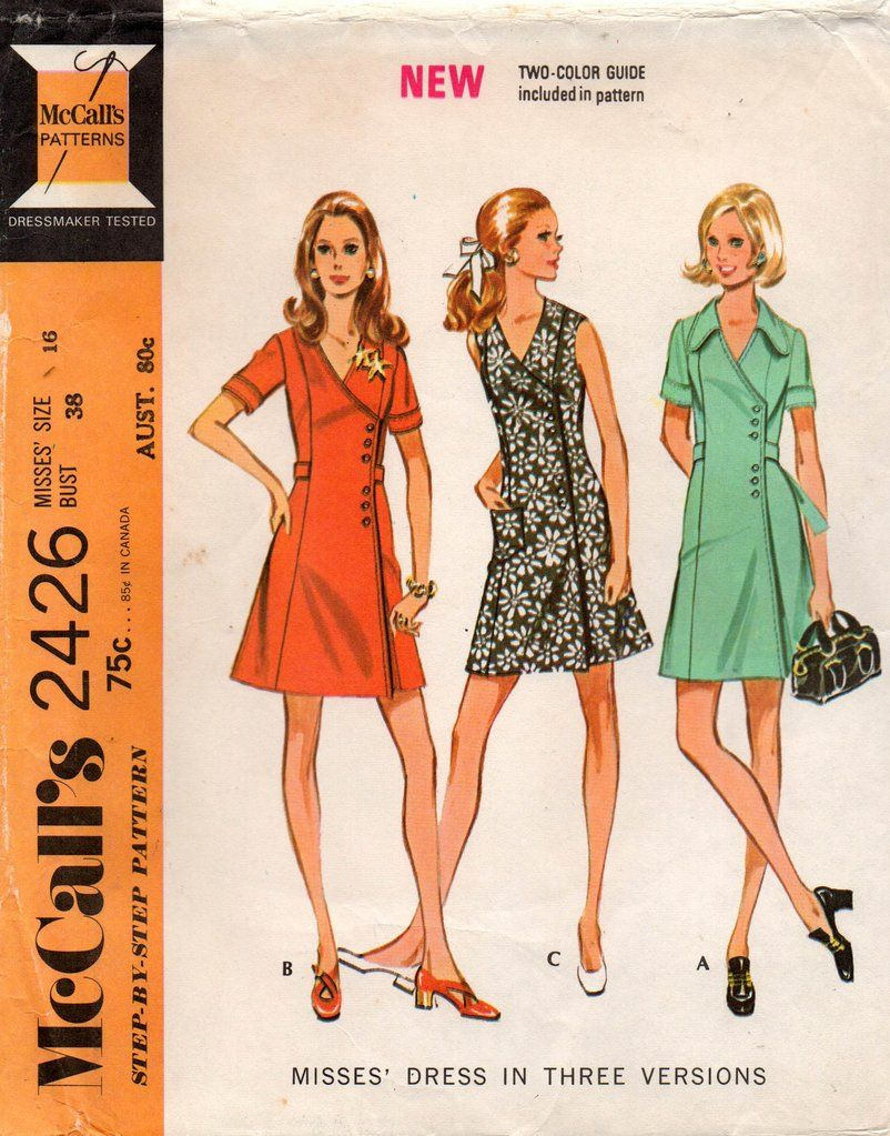 Mccall S 2426 Womens Side Buttoned Wrap Dress 70s Vintage Sewing Pattern Size 16 Bust 38 Inches Unc Sewing Pattern Sizes Vintage Sewing Patterns Vintage Sewing [ 1023 x 802 Pixel ]
