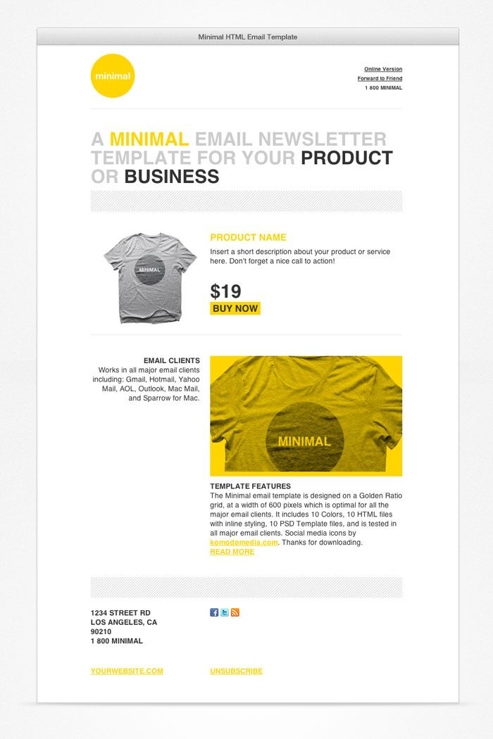 Minimal HTML Email Template Email Design Pinterest Template - Minimal email template