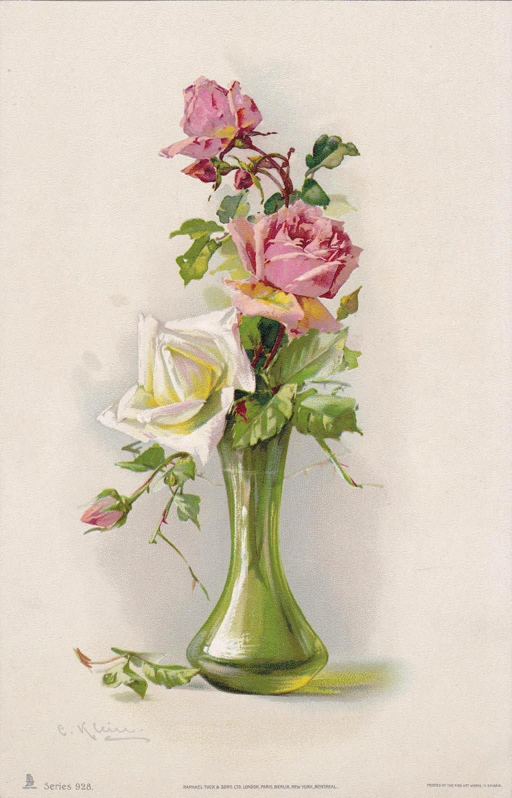 C1890s Pink White Cabbage Roses Print Catherine Klein Antique
