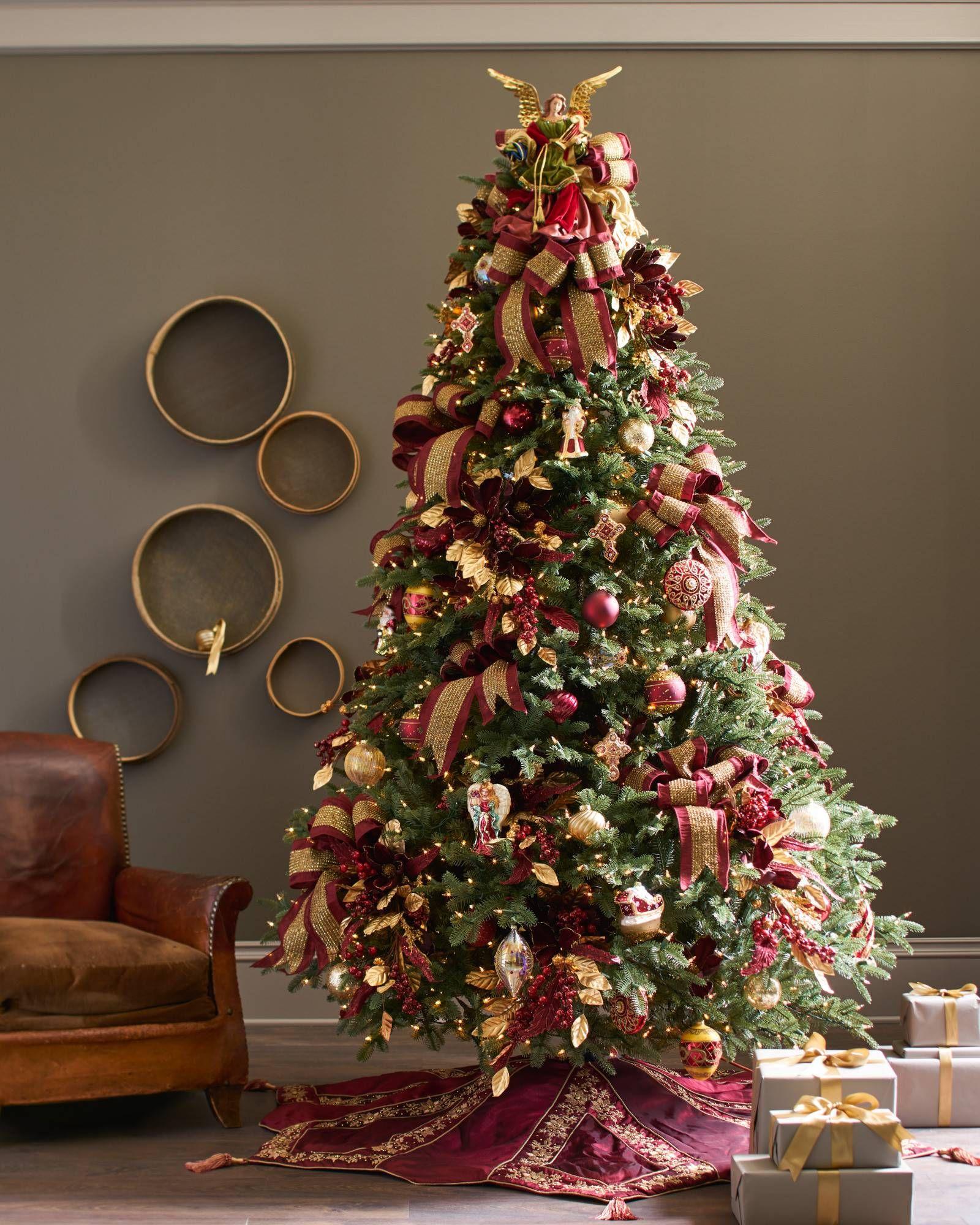 Burgundy And Gold Christmas Tree Skirt
