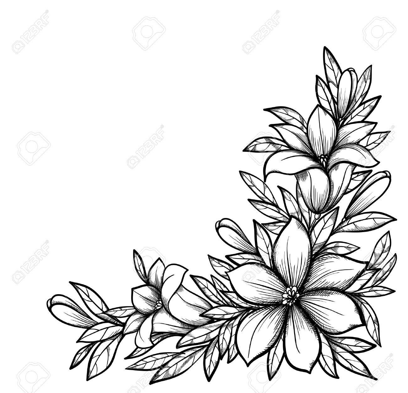 Belle Branche Noir Et Blanc Avec Des Fleurs Dessiné Dans Le