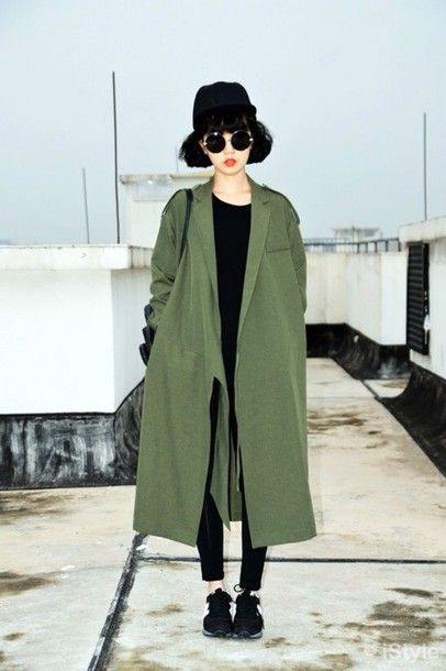 Coat: green, army green, army green jacket, trench coat, long coat ...