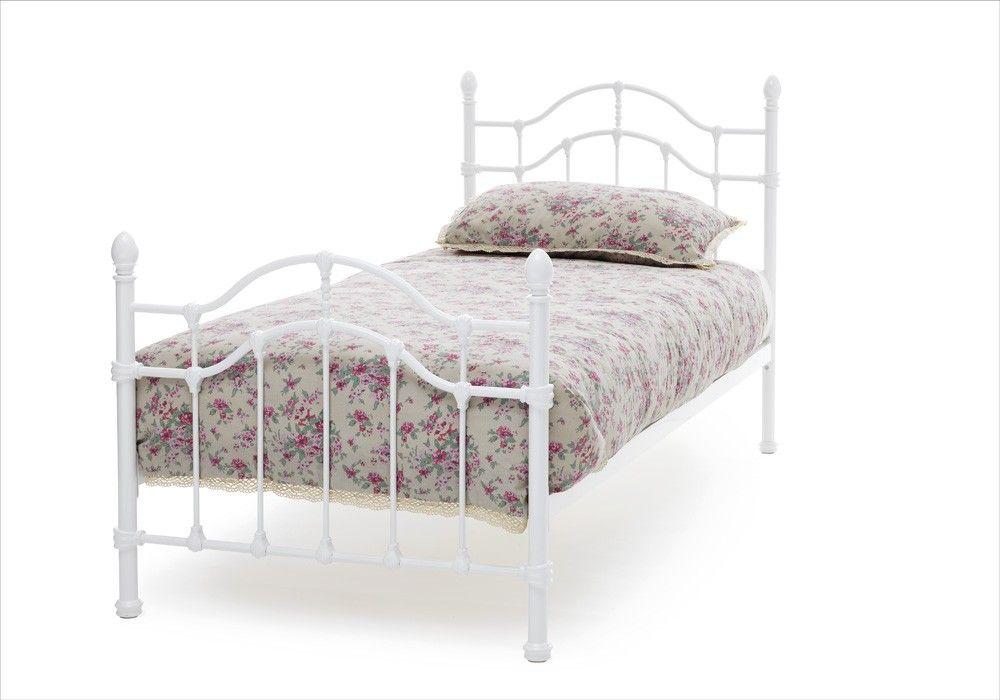 Paris Glossy White Metal Single 3ft Bed Frame Metal Bed Frame