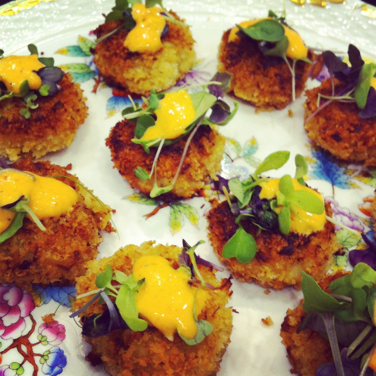 Mini Crabcakes with Red Pepper Coconut Sauce