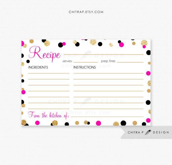 kate spade inspired bridal shower pink gold recipe cards printed or printable black white