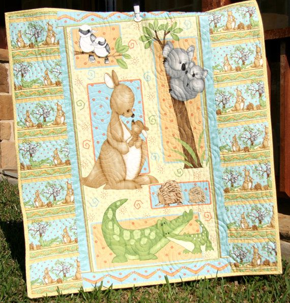 Gender Neutral Quilt Baby Blanket Mommy And Me Kangaroo Alligator Hedgehog Koala
