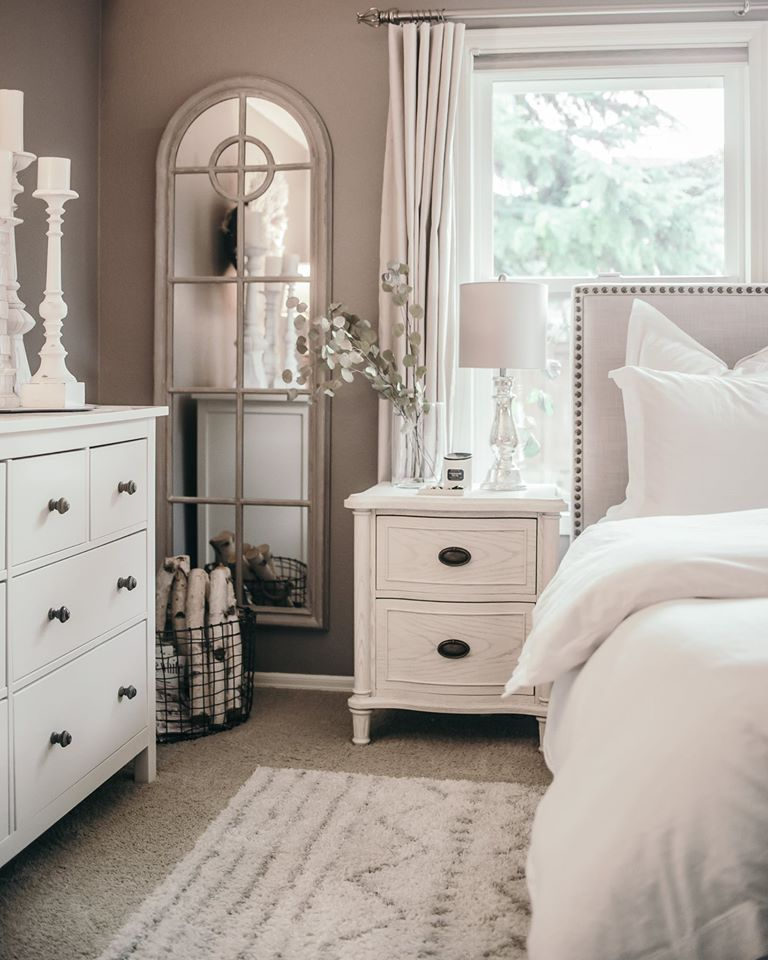 Genial Studded Bed Upholstery Headboard, White Bed Table And Dresser, Glass  Mirror, White Bed Covers
