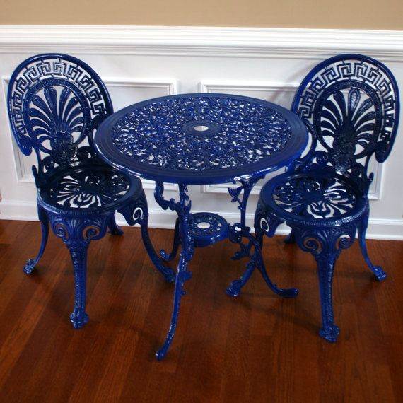 Chinoiserie Sapphire Blue Vintage Patio Chairs and Table Set  Garden  Furniture  Sun room. Chinoiserie Sapphire Blue Vintage Patio Chairs and Table Set