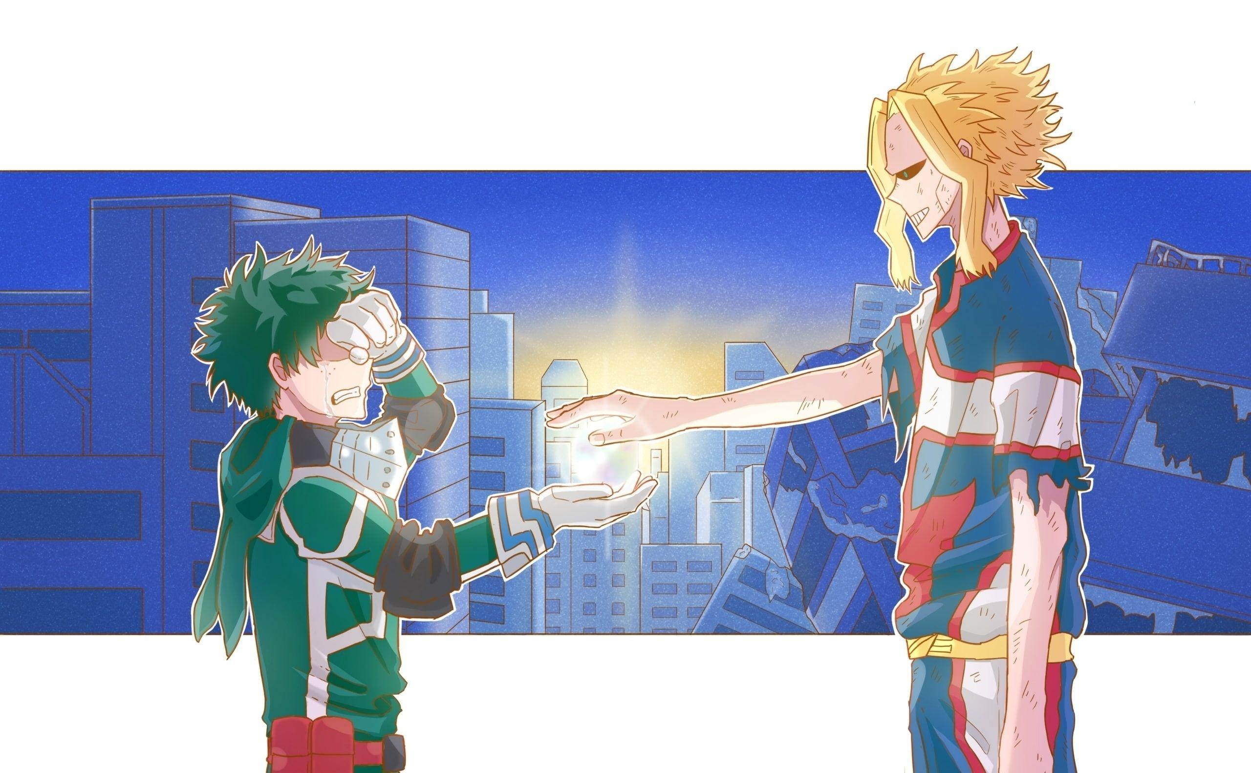 Anime My Hero Academia All Might Izuku Midoriya Toshinori Yagi 2k Wallpaper Hdwallpaper Desktop My Hero My Hero Academia Boku No Hero Academia