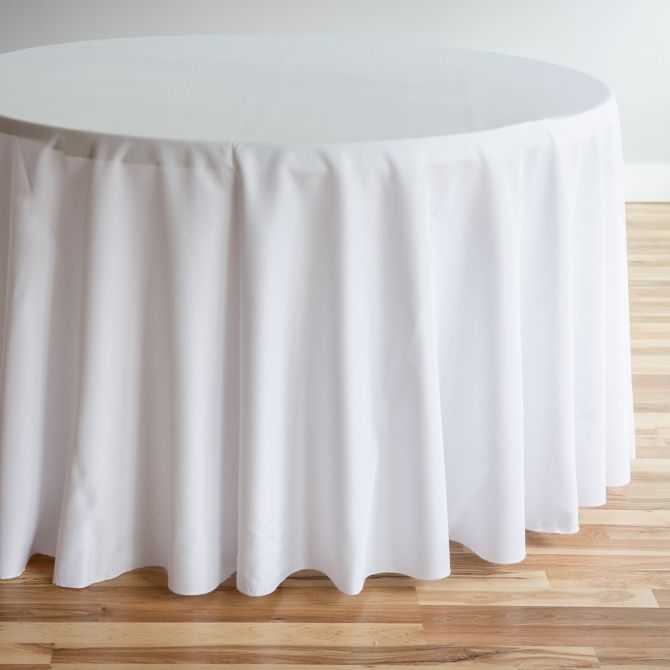 108 In Round Polyester Tablecloth With Images Table Cloth White Round Tablecloths Table Linens