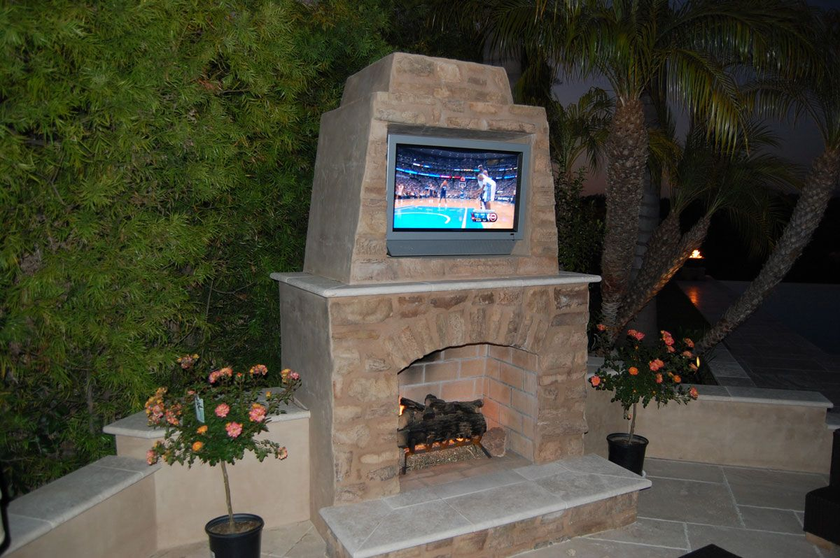 Outdoor Stone Fireplace With Tv
