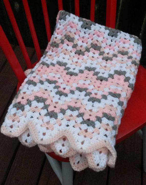 Baby Afghan - Granny Ripple - Peach - Pink - White - Gray - Pastel ...